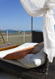 Beach bed on the sand Stock Images