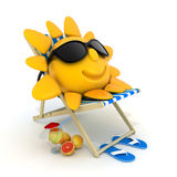 Beach bed and sun Royalty Free Stock Photos