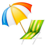 A beach bed and umbrella Stock Image