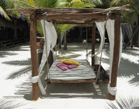 Beach bed on white sand Stock Photography