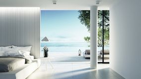 Beach bedroom interior - Modern & Luxury vacation / 3D render royalty free illustration