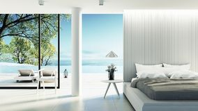 Beach bedroom interior - Modern & Luxury vacation / 3D render stock illustration