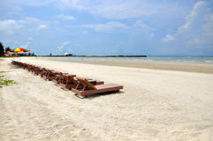 Beach beds. Beach bed near the ocean in the summer Stock Image