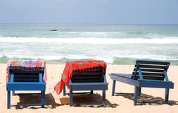 Beach beds. Three Beach beds stock images