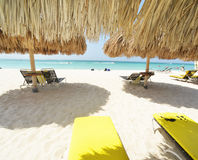 Beach beds in Aruba. In a sunny day Stock Photography