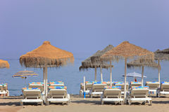 Beach Beds At Los Boliches Beach, Fuengirola Stock Photo