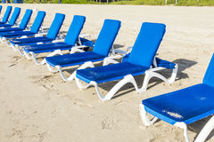 Beach beds at the beach in Miami Royalty Free Stock Photo