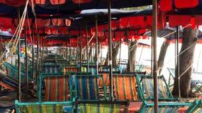 Beach beds and Beach umbrella. Beach beds and Beach umbrella at HuaHin Thailand Stock Image