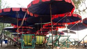 Beach beds and Beach umbrella. Beach beds and Beach umbrella at HuaHin Thailand Stock Photo