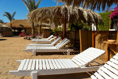 Beach beds in resort Royalty Free Stock Photography