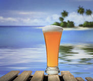 Beach and beer glass. Filled with beer Stock Images