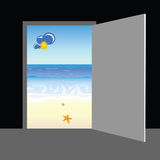 Beach behind the door vector. Illustration Stock Photography