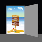 Beach behind the door vector part two Stock Images