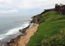 Beach Behind Fort in Old San Juan Puerto Rico Stock Images