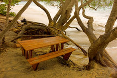 A beach being eroded by a storm surge in the tropics. A picnic bench being washed away by turbulent waves at lower bay, bequia royalty free stock photo