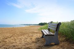 Beach bench Royalty Free Stock Photography