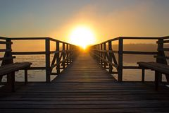Beach, Bench, Boardwalk Stock Image