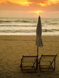 Beach Benches & Sunset Royalty Free Stock Image