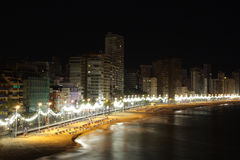 Beach of Benidorm. At night, Spain Royalty Free Stock Image