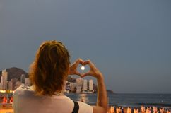 Beach, Benidorm, Heart Stock Photo