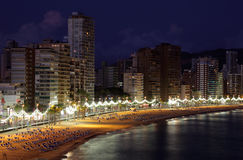 Beach of Benidorm at night, Spain Royalty Free Stock Photo