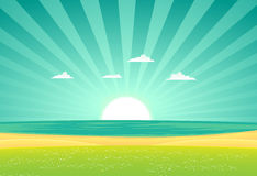 Beach Beyond The Fields Royalty Free Stock Photography