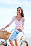 Beach bicycle woman Royalty Free Stock Photos