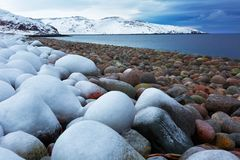 Beach with big round stones on the coast of the Barents Sea Royalty Free Stock Photography