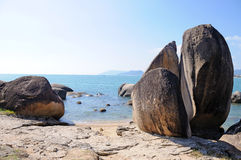 Beach  with big stone Royalty Free Stock Photos