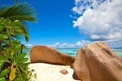 Beach with a big stones. Seascape view with a huge stones, Seychelles, LaDigue island Stock Image