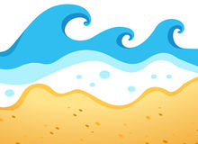 A beach with big waves. Illustration of a beach with big waves Stock Images