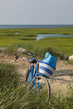 Beach bike with basket. Royalty Free Stock Image