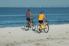 Beach Bikers. Photographed people riding bikes on the beach at Ft. Myers Beach, Florida Royalty Free Stock Image