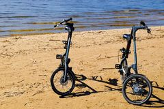 Beach bikes for walking on the beaches, parks. Sea summer day. royalty free stock photo