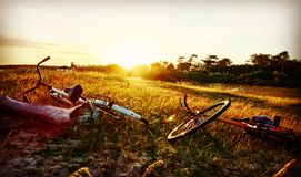 Beach biking. Beach Sun bike relax Royalty Free Stock Photo