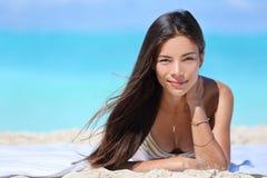 Beach bikini Asian woman portrait Royalty Free Stock Images