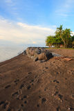 The beach of black sand. Camiguin Island. Philippines Stock Photo