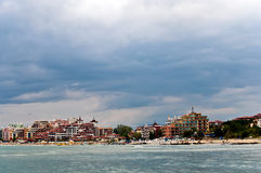 Beach on the Black Sea . Panoramic view of the bay . Golden Sands, Bulgaria royalty free stock image