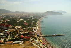 Beach of Black sea. Coast of Black sea in Ukraine Stock Photos