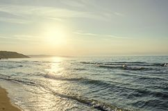 Beach of Black Sea from Albena, Bulgaria with golden sands, blue. Clear  water, sunrise Royalty Free Stock Photography