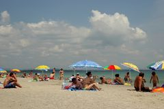 The beach and the Black Sea, Burgas, Bulgaria, July 24, 2014 Royalty Free Stock Images