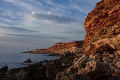 Beach black sea crimea lighthouse Stock Image