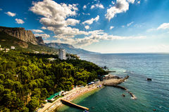 Beach on Black Sea. Foros city Royalty Free Stock Photo