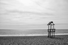 Beach black and white Royalty Free Stock Image