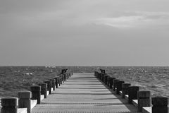 Beach, Black-and-white, Boardwalk Stock Photography