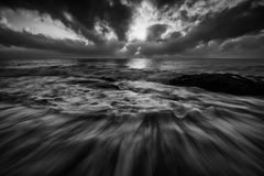 Beach, Black-and-white, Dramatic Stock Photography
