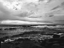 Beach in black and white royalty free stock photo