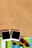 Beach with blank polaroid photo frame prints, summer holiday photo album, vertical Stock Photography