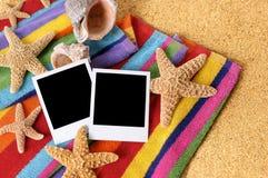 Beach blank polaroid photo prints Royalty Free Stock Photo