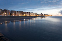 Beach in Blankenberge at sunset, Belgium Royalty Free Stock Images